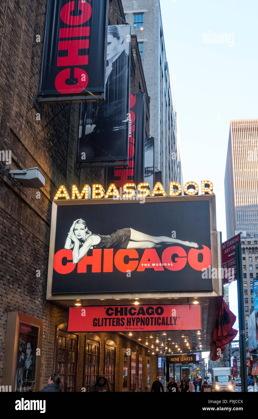 Chicago, the musical at the Ambassador Theater in New York City - Stock Image