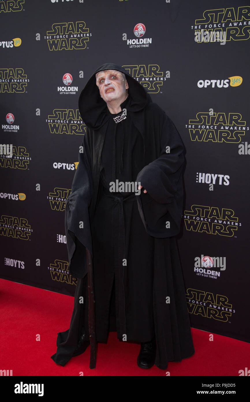 star wars character the emperor arrives on the red carpet for the sydney premiere of star wars the force awakens at hoyts entertainment quarter
