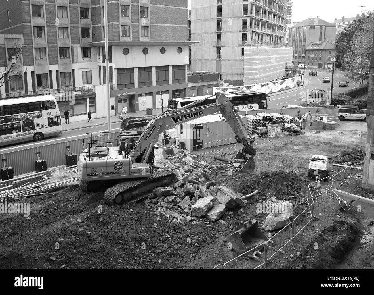 Machines at work on a construction project in the centre of the city of Bristol, England, - Stock Image