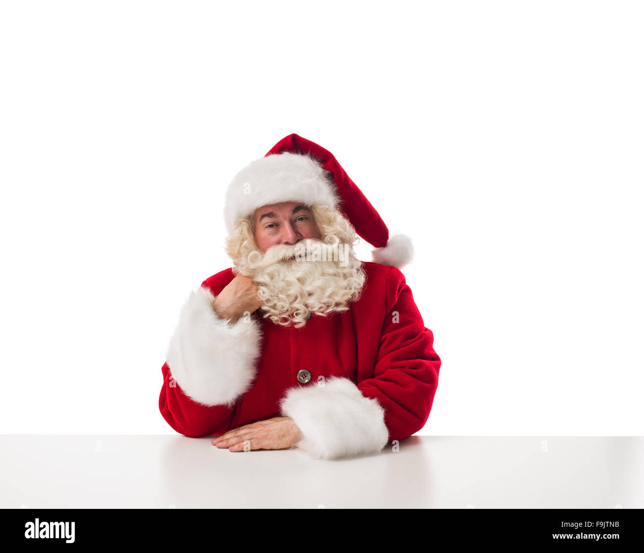 a846e1743 Santa Claus thinking Closeup Portrait Isolated on White Background ...