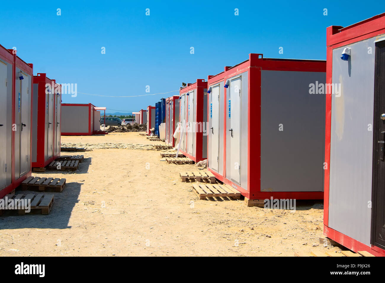Module for recreation and social needs of the construction site - Stock Image