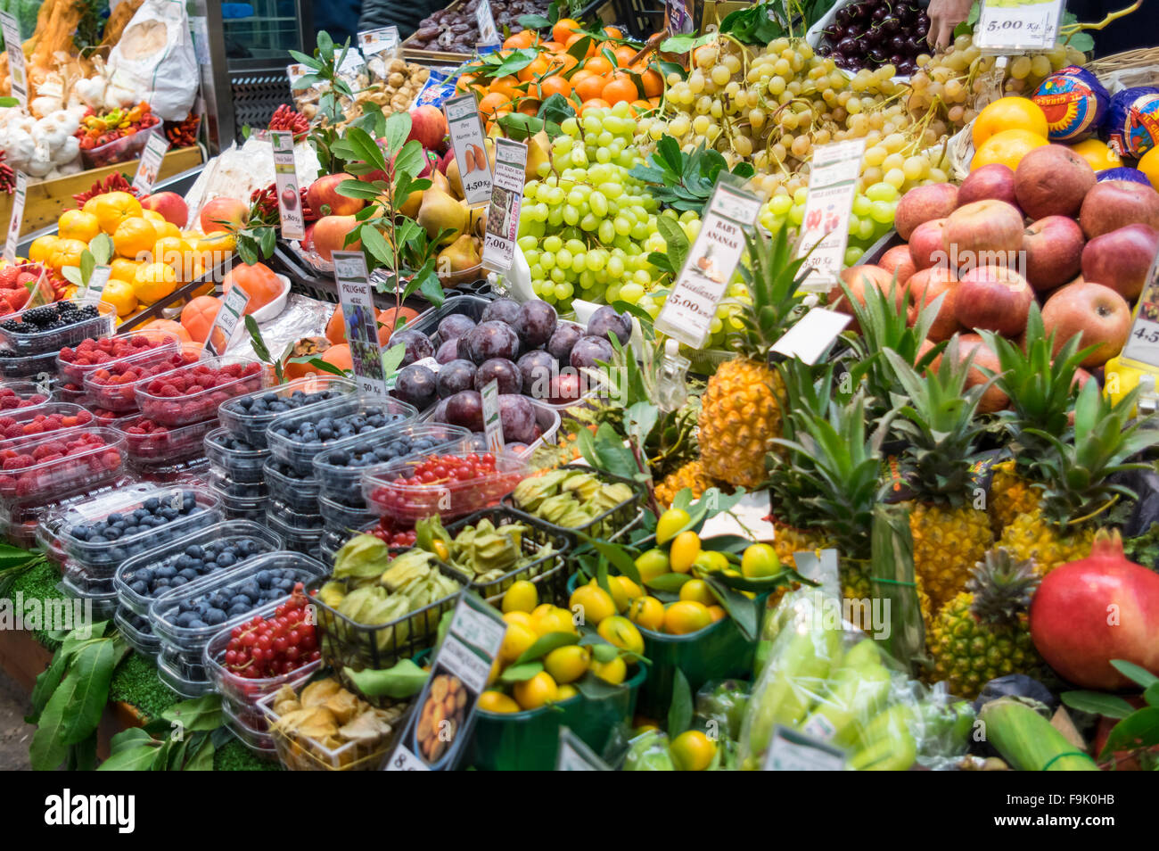 Various colorful fruits on sale at Mercato Orientale, one of the largest permanent food markets in Genova, Liguria, - Stock Image