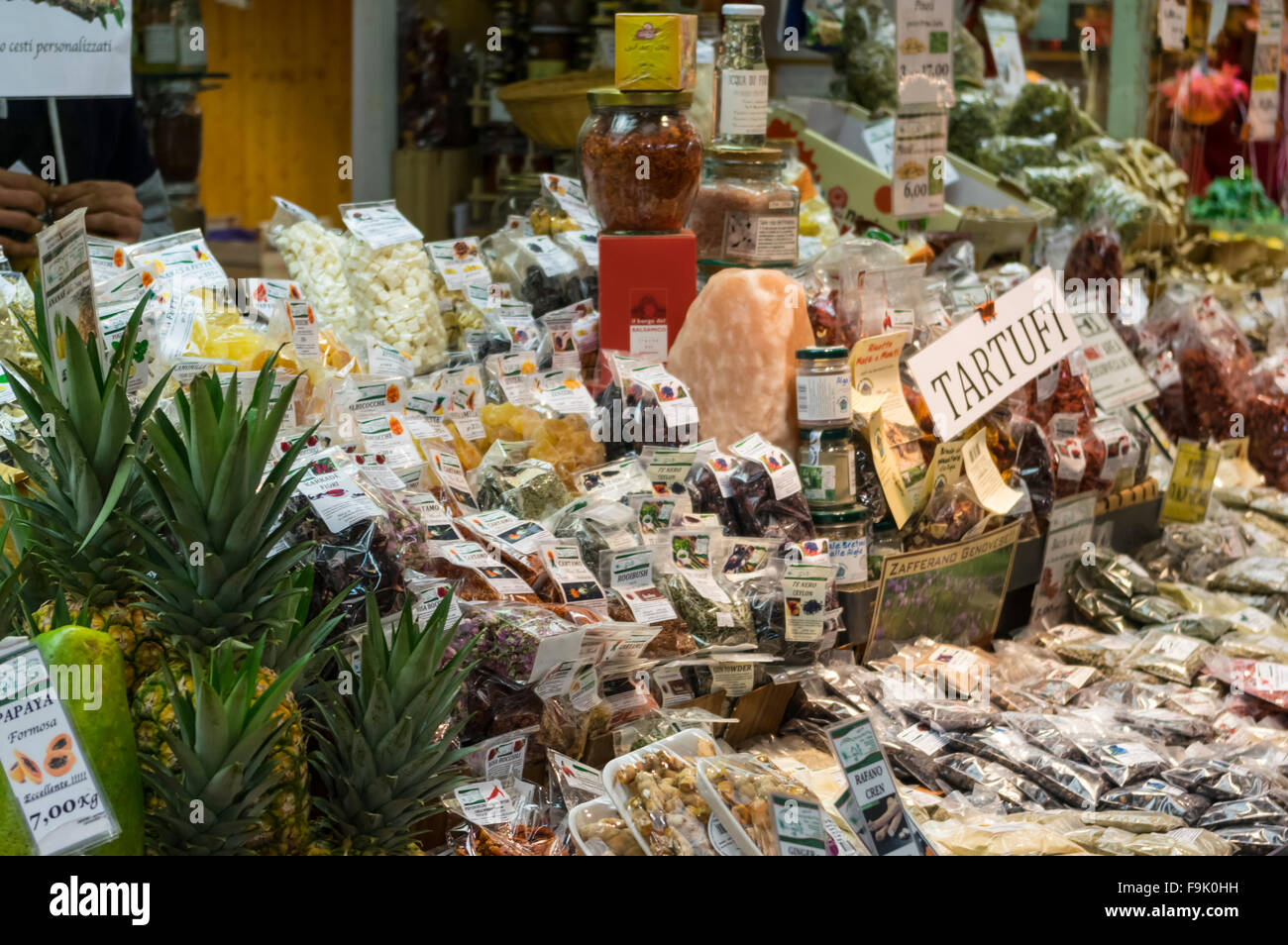 Various spices and teas on sale at the Mercato Orientale, one of the largest permanent food markets in Genova, Liguria, - Stock Image