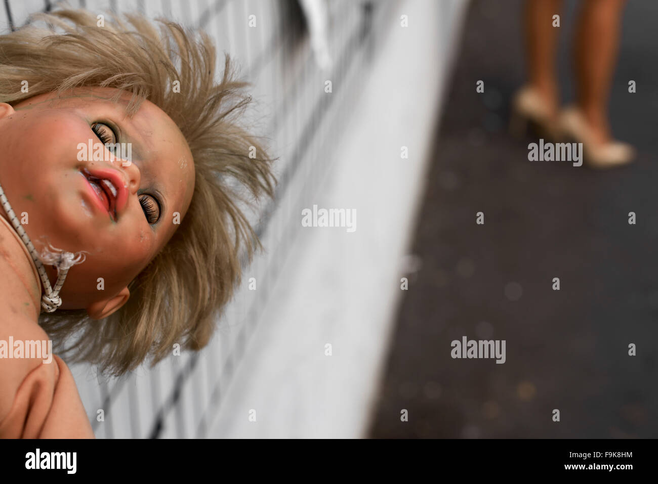Milan, Italy. The Wall Of Dolls Installation Stock Photo