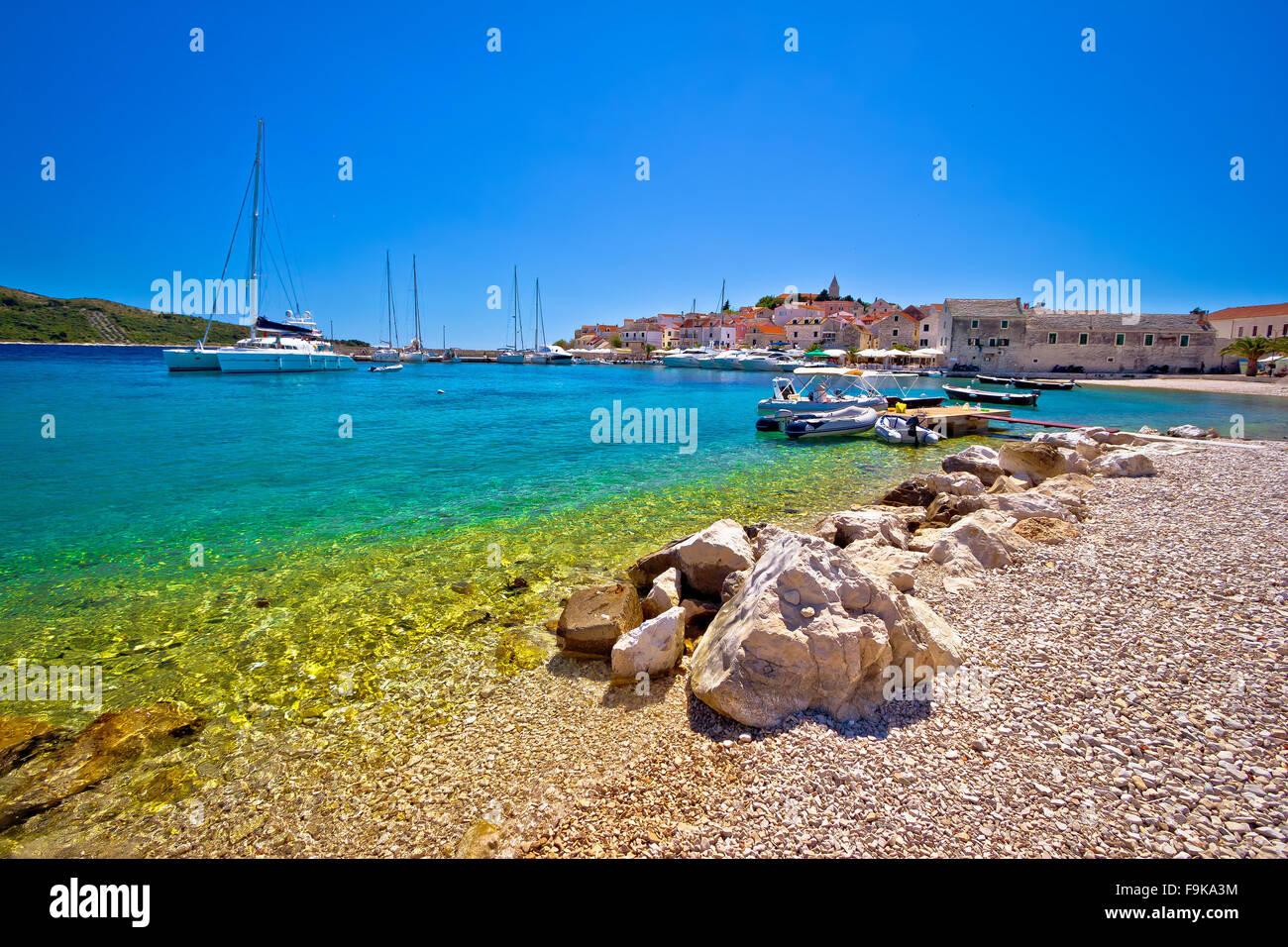 Beach of Adriatic town Primosten, Dalmatia, Croatia - Stock Image