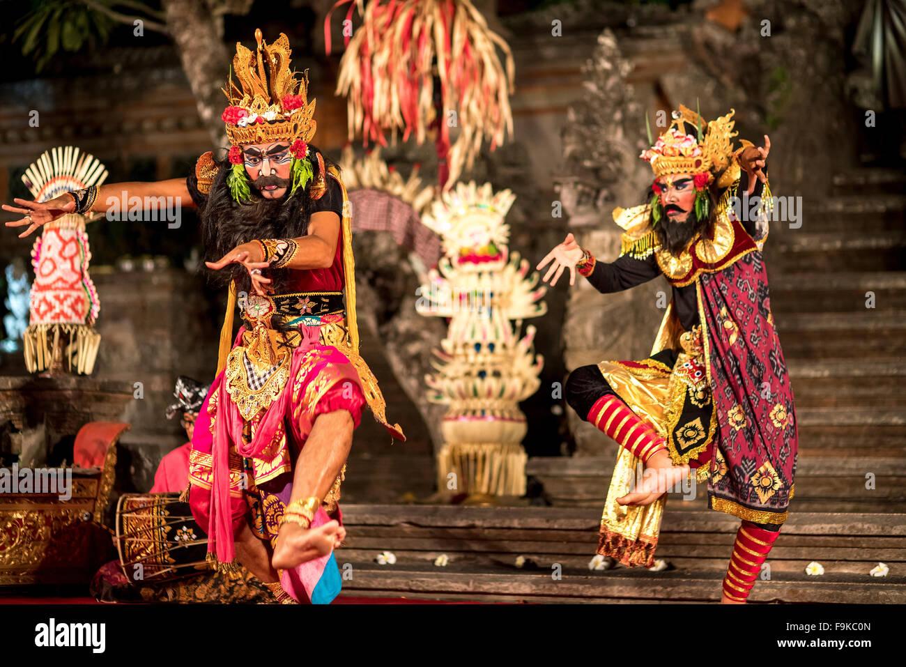 Bali dancer performing the classic Ramayana Ballet,Ubud Palace / Puri Saren Agung,  Ubud, Bali, Indonesia - Stock Image
