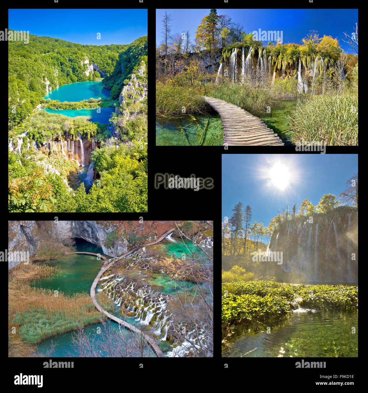 Plitvice lakes national park collage, Croatia - Stock Image