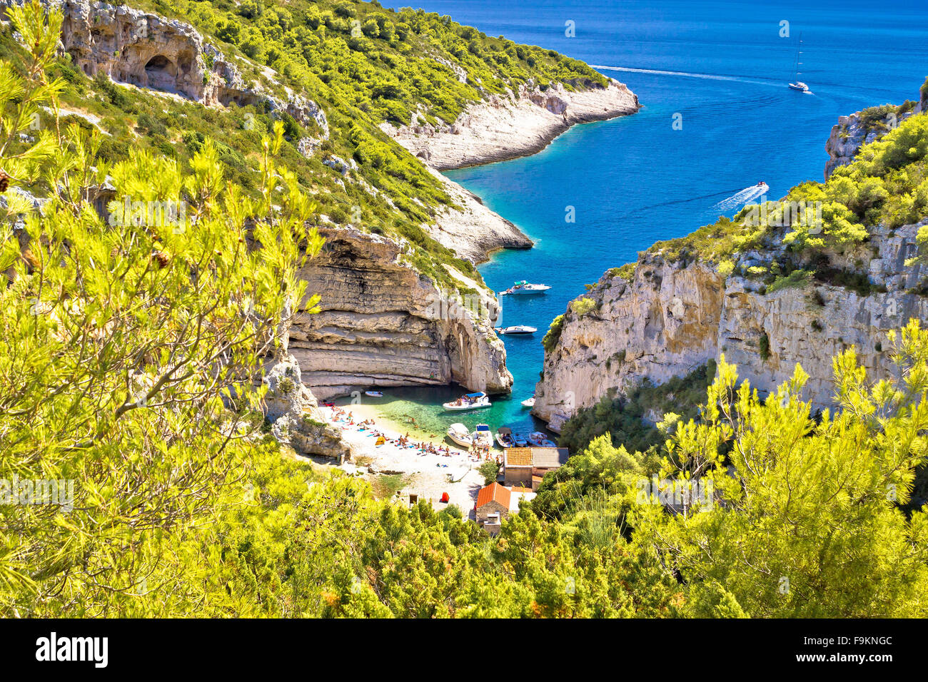 Amazing Stinva beach of Vis island, Dalmatia, Croatia Stock Photo