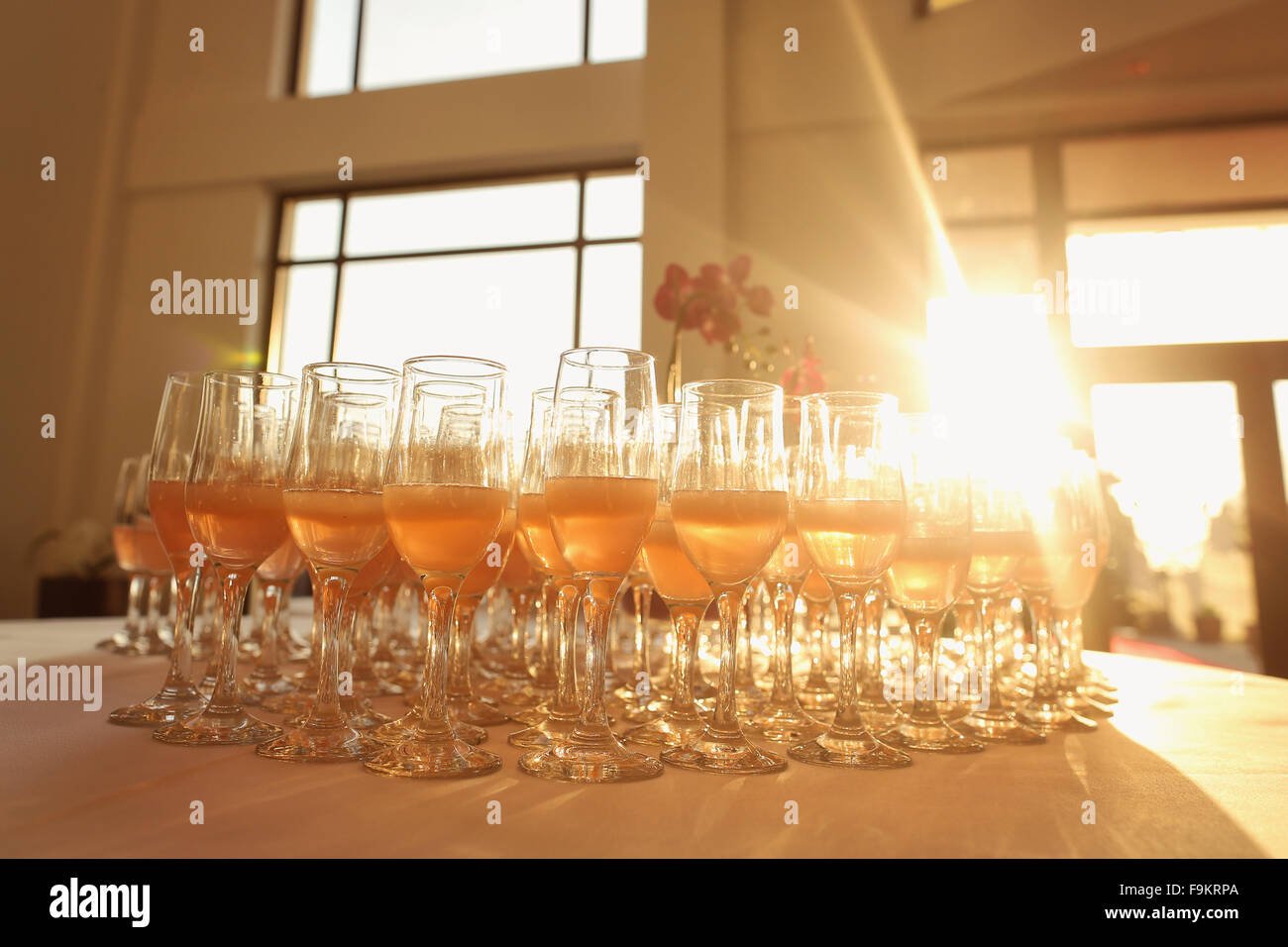 Many glasses of champagne - Stock Image