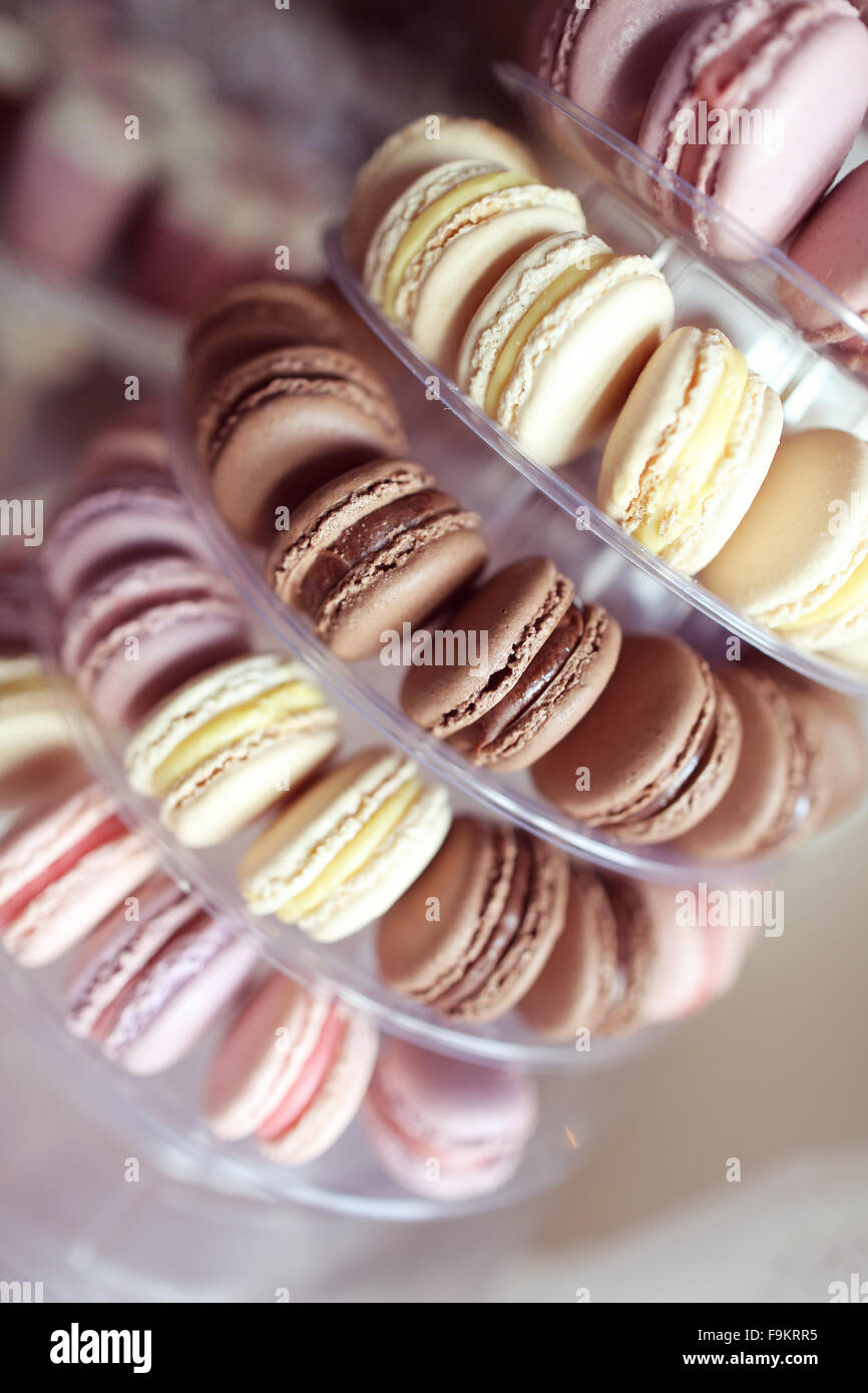 Delicious macaroons pyramid - Stock Image