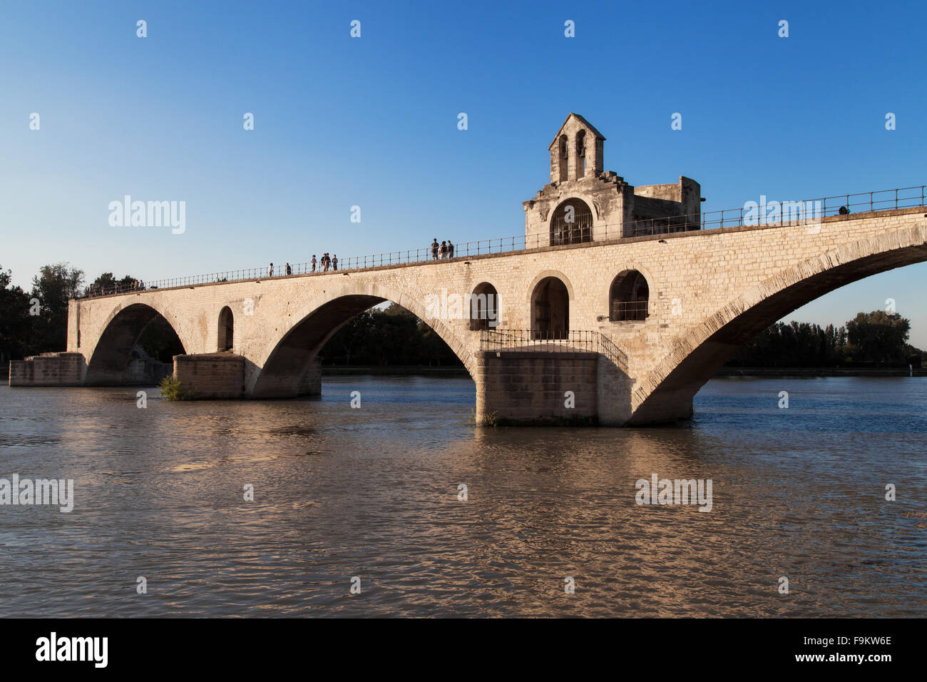 St Benezet Bridge over the Rhone river in Avignon, France. - Stock Image