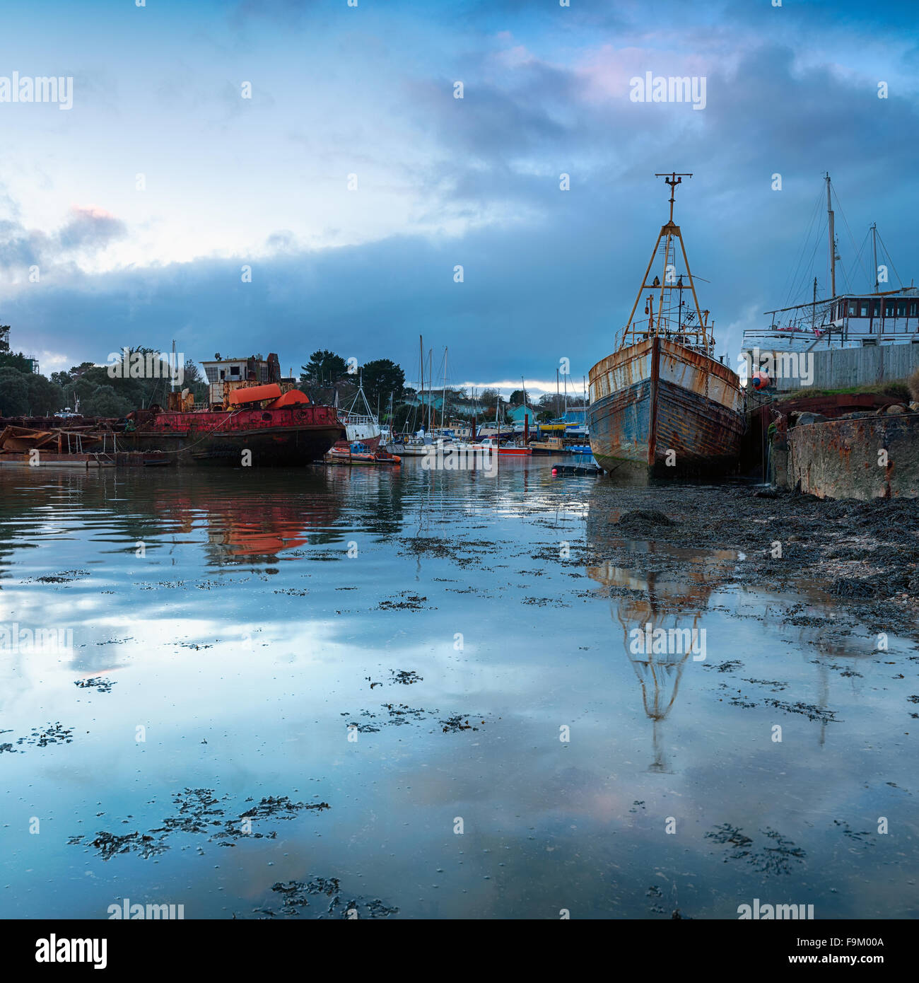 An old boat yard at Torpoint in Cornwall where the river Tamar meets the sea - Stock Image