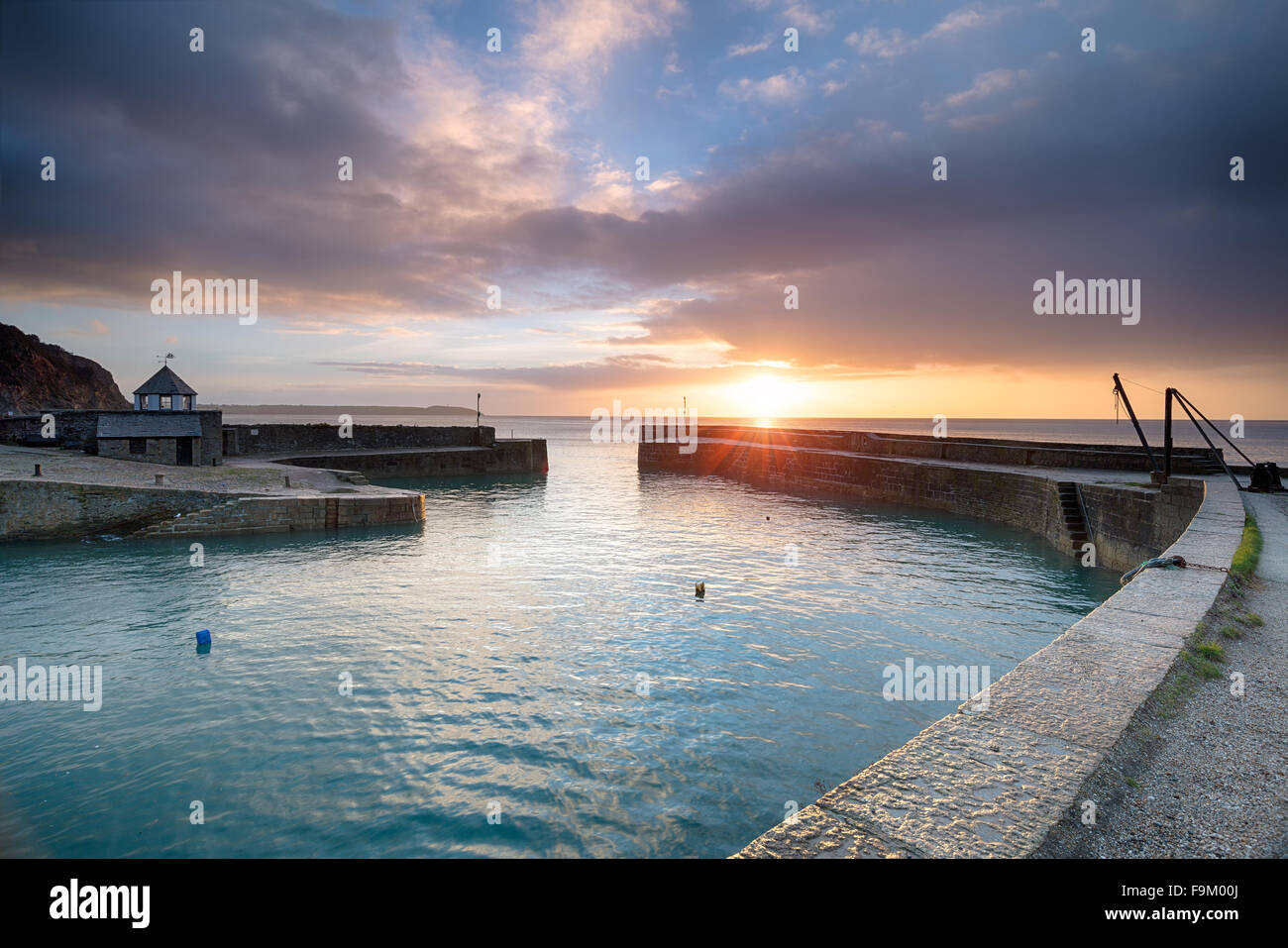 Sunrise at Charlestown an historic fishing port near St Austell in Cornwall - Stock Image