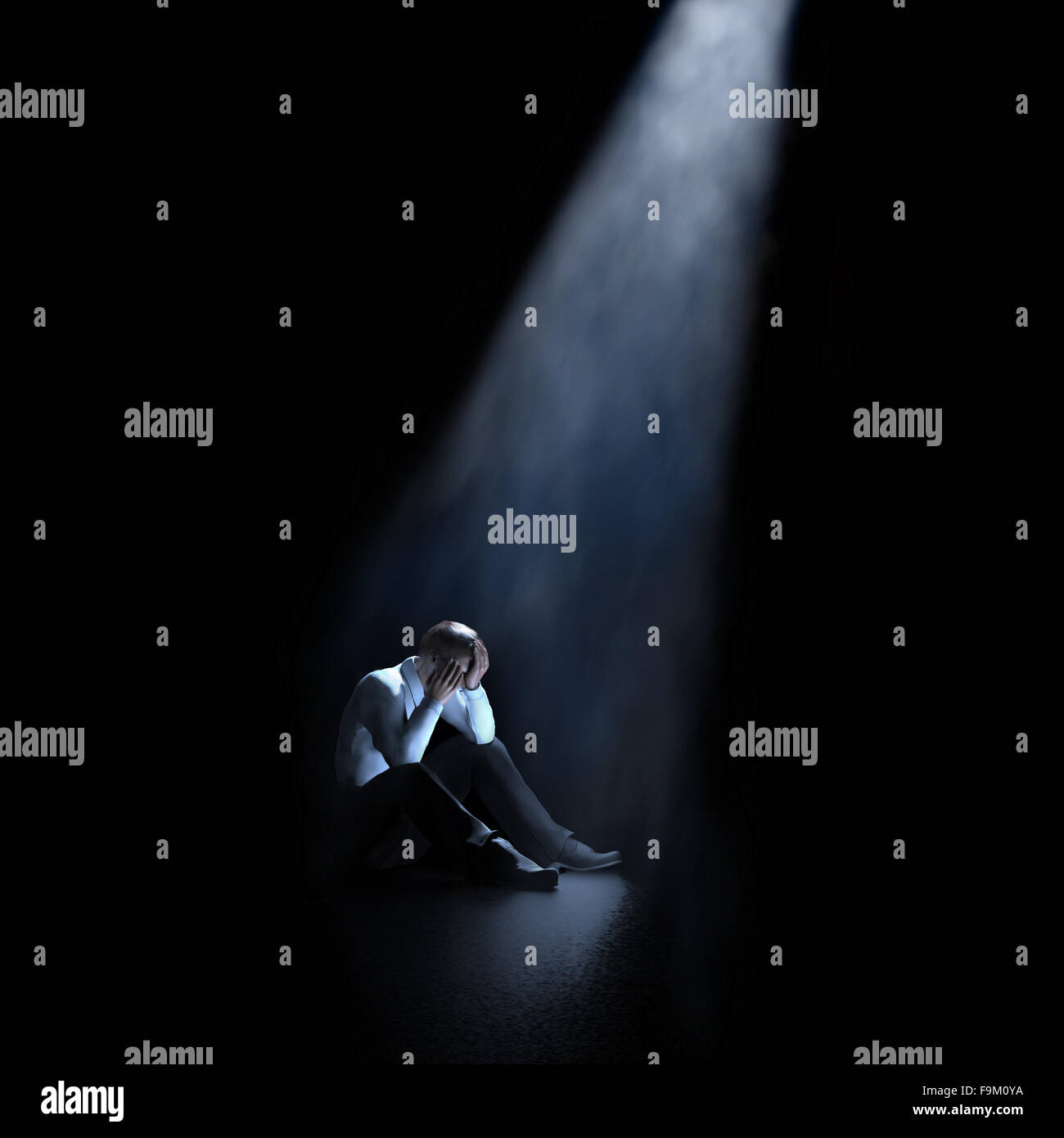lonely man sitting in a dark room Stock Photo: 92023550 - Alamy