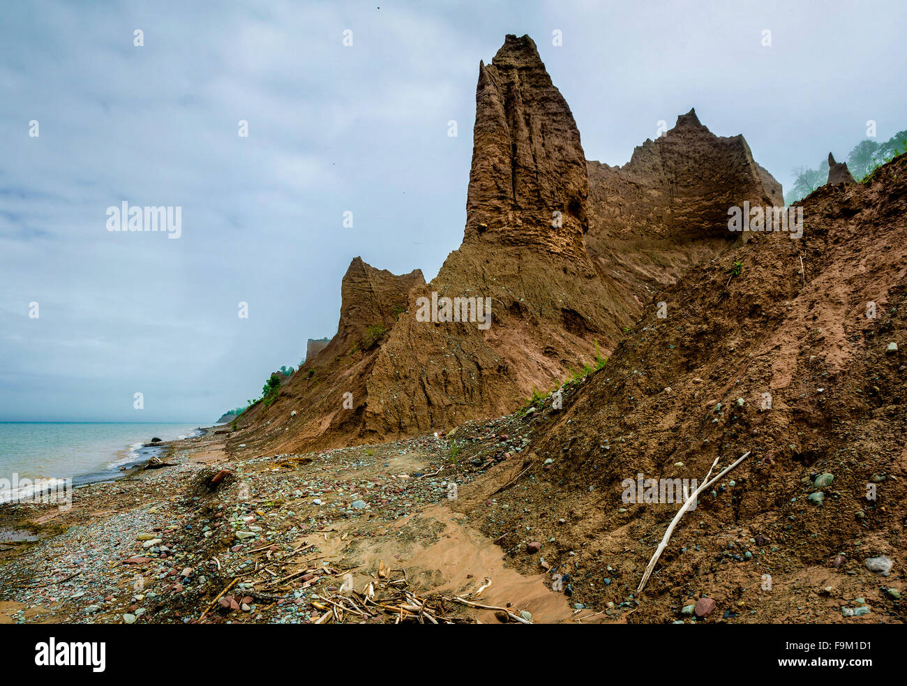 Chimney Bluffs on the shore of Lake Ontario, New York. - Stock Image