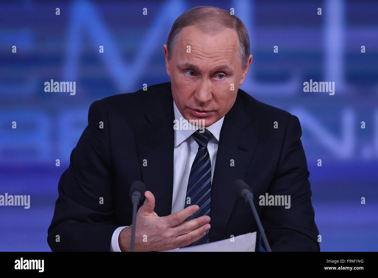 Moscow, Russia. 17th Dec, 2015. Russian President Vladimir Putin speaks during his annual year-end press conference Stock Photo