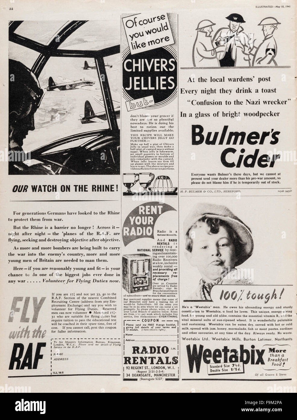 'Illustrated' magazine, May 1941, UK. A page of wartime advertisements for (among others) Weetabix, Bulmer's - Stock Image