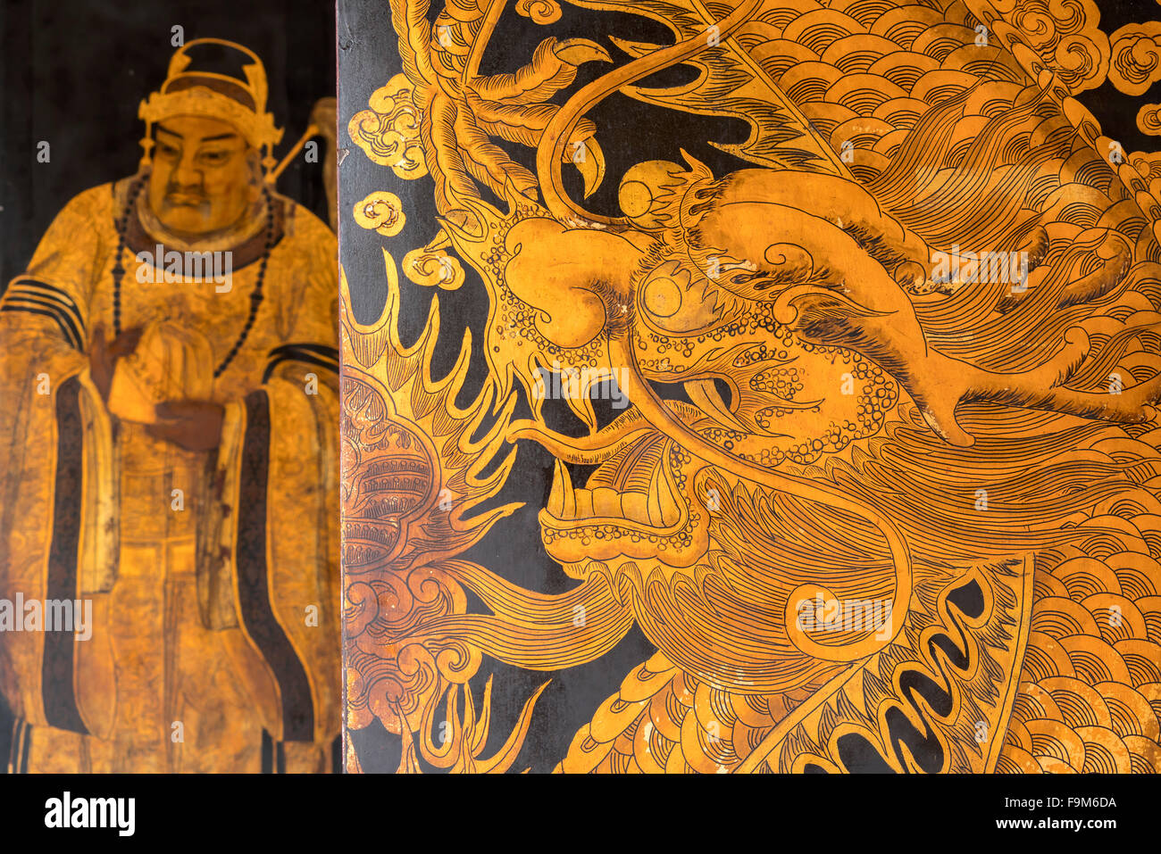 dragon painting on the gate of the taoist Thian Hock Keng Temple or Temple of Heavenly Happiness in Chinatown, Singapore, - Stock Image