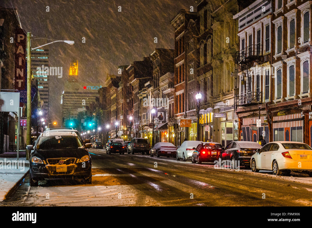 Snow at Over-the-Rhine, an intact 19th-century historic district in Cincinnati. Stock Photo
