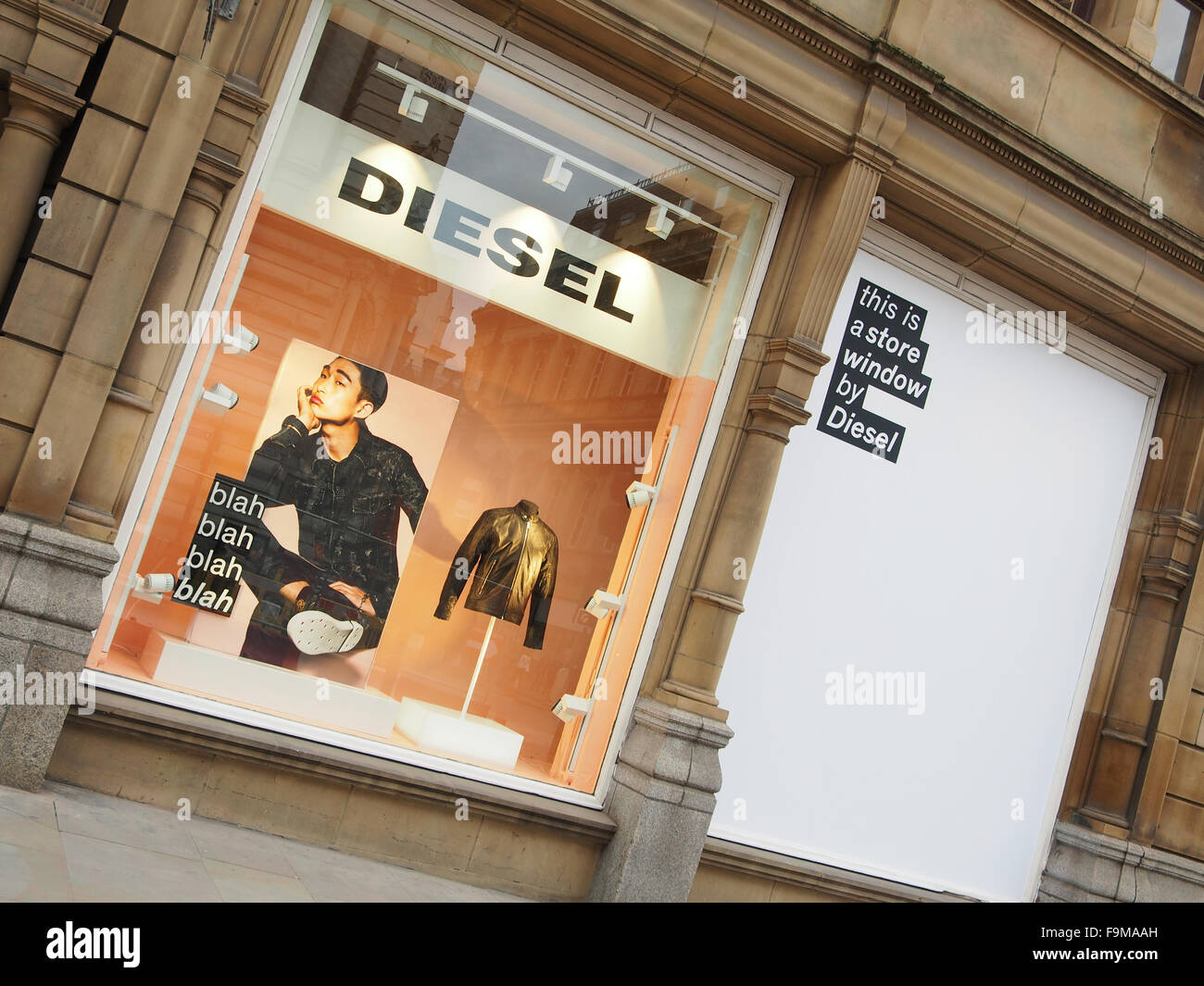 sports shoes 995b0 c934a Shop window and display of Diesel outlet on King Street in ...