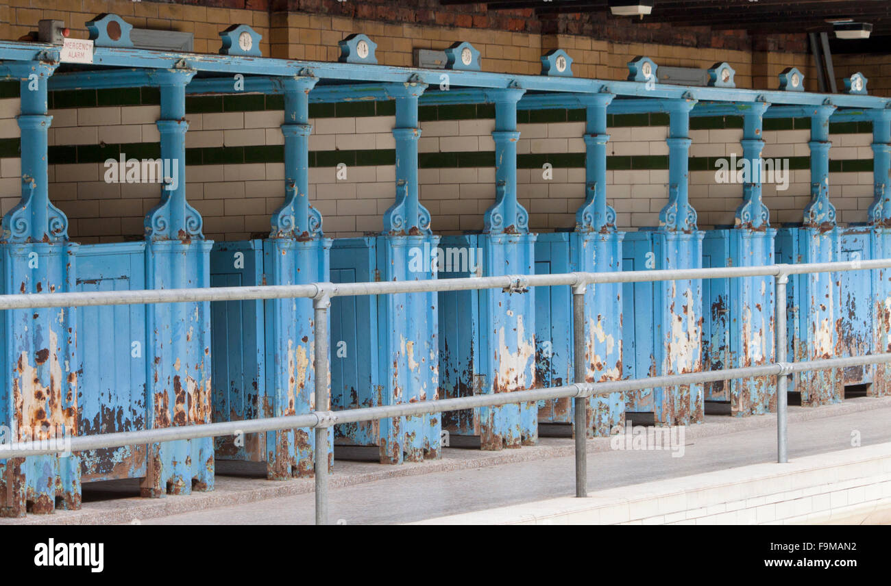 Cubicles at Victoria Baths in Manchester, which opened in 1906 and served the public for 87 years, is now a museum. - Stock Image