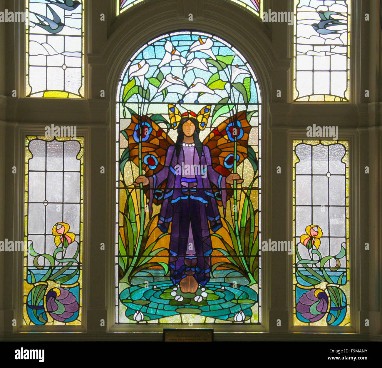 Angel of purity window - art deco stained glass at Victoria Baths in Manchester, which opened in 1906 and served - Stock Image