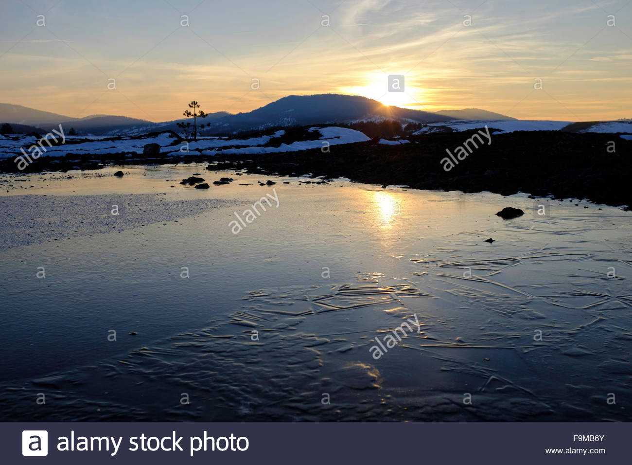 Sunset in the Zlatibor mountains, Serbia - Stock Image