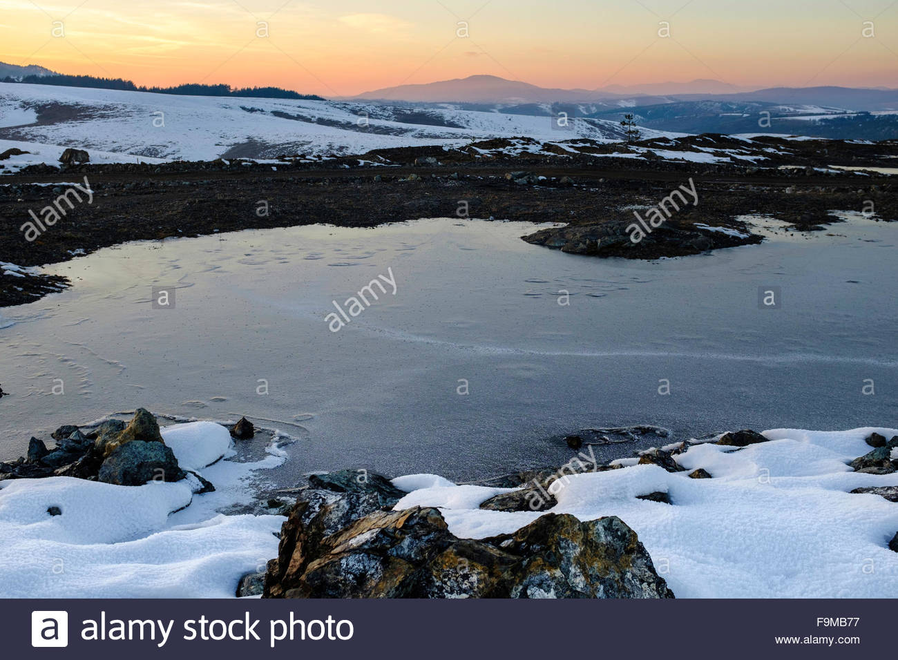 Cold evening in the Zlatibor mountains, Serbia - Stock Image