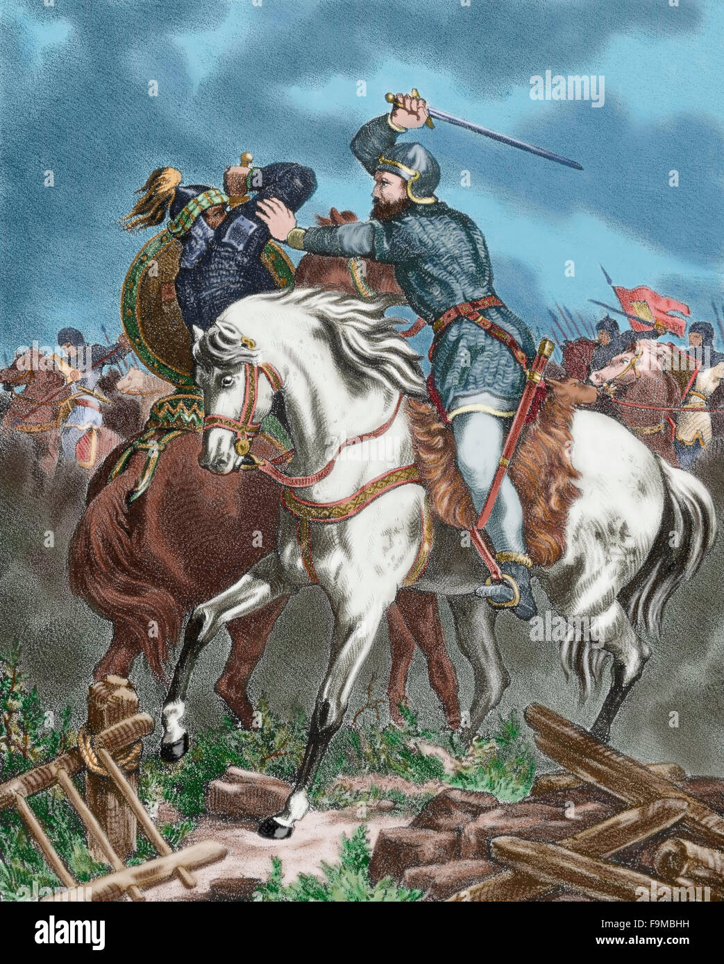 Spain. Reconquest. Battle of Sagrajas, also called Zalaca or Zallaqa (23 October 1086) between the Almoravid army - Stock Image