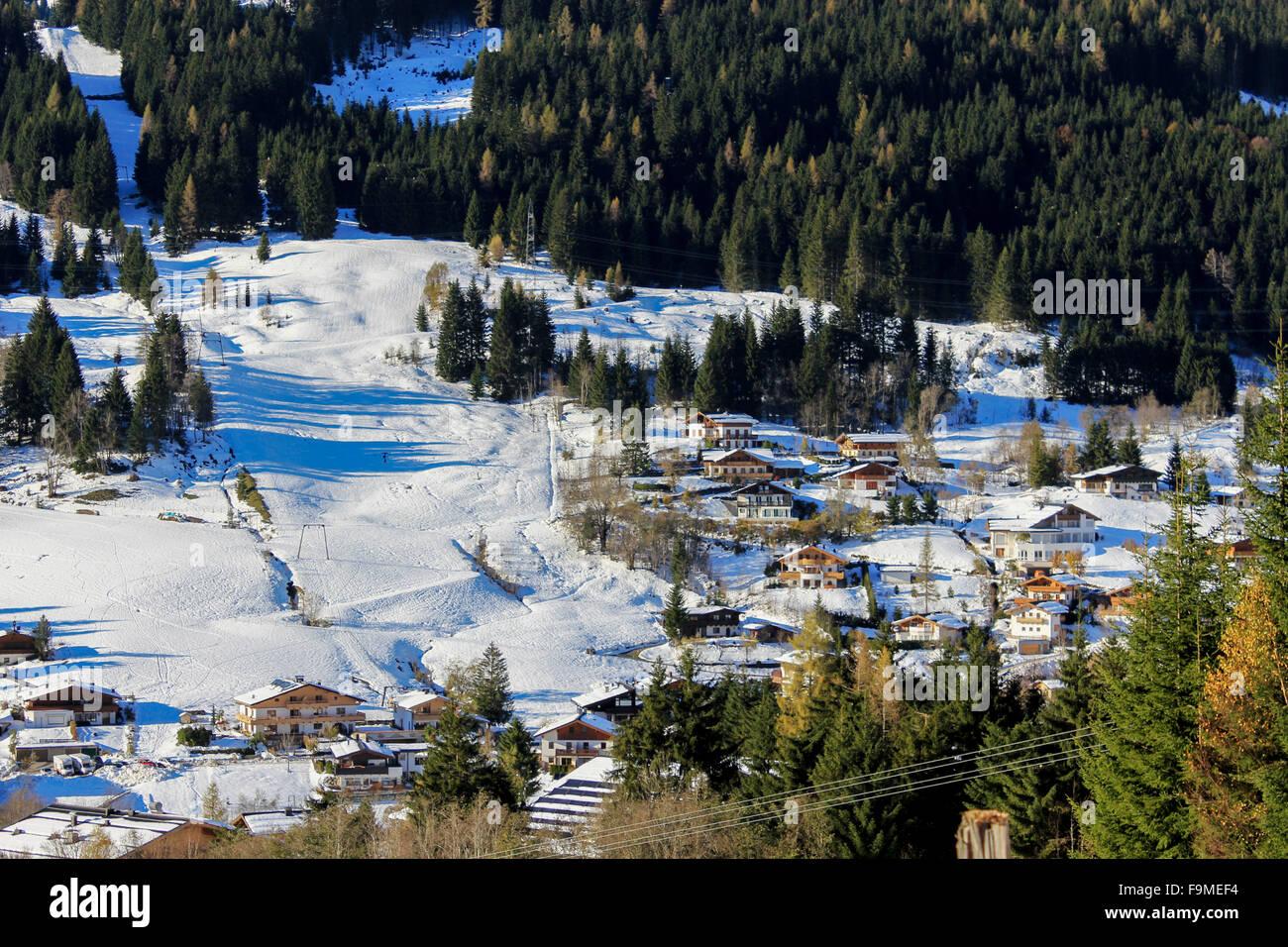 winter landscape in Austria Alps, snow sun and Snowy winter scene Stock Photo