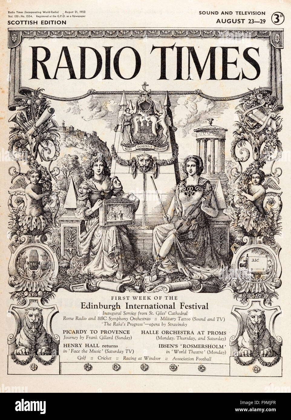 Cover of an old issue of Radio Times magazine marking the 1953 Edinburgh International Festival - Stock Image