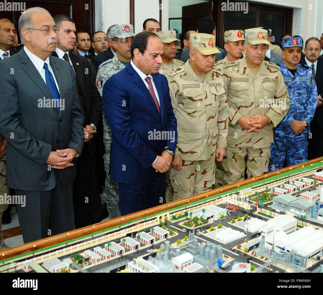 Cairo, Egypt. 17th Dec, 2015. Egyptian President Abdel Fattah al-Sisi, opens Mono and adenosine triphosphate factory Stock Photo