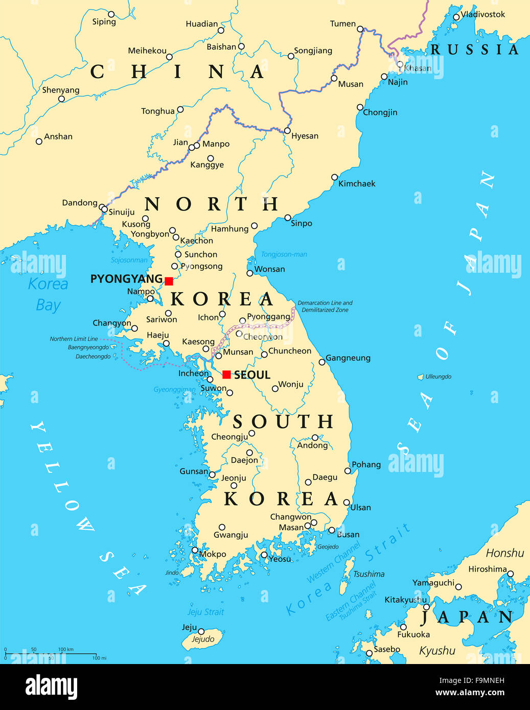 Korean peninsula political map with North and South Korea and the
