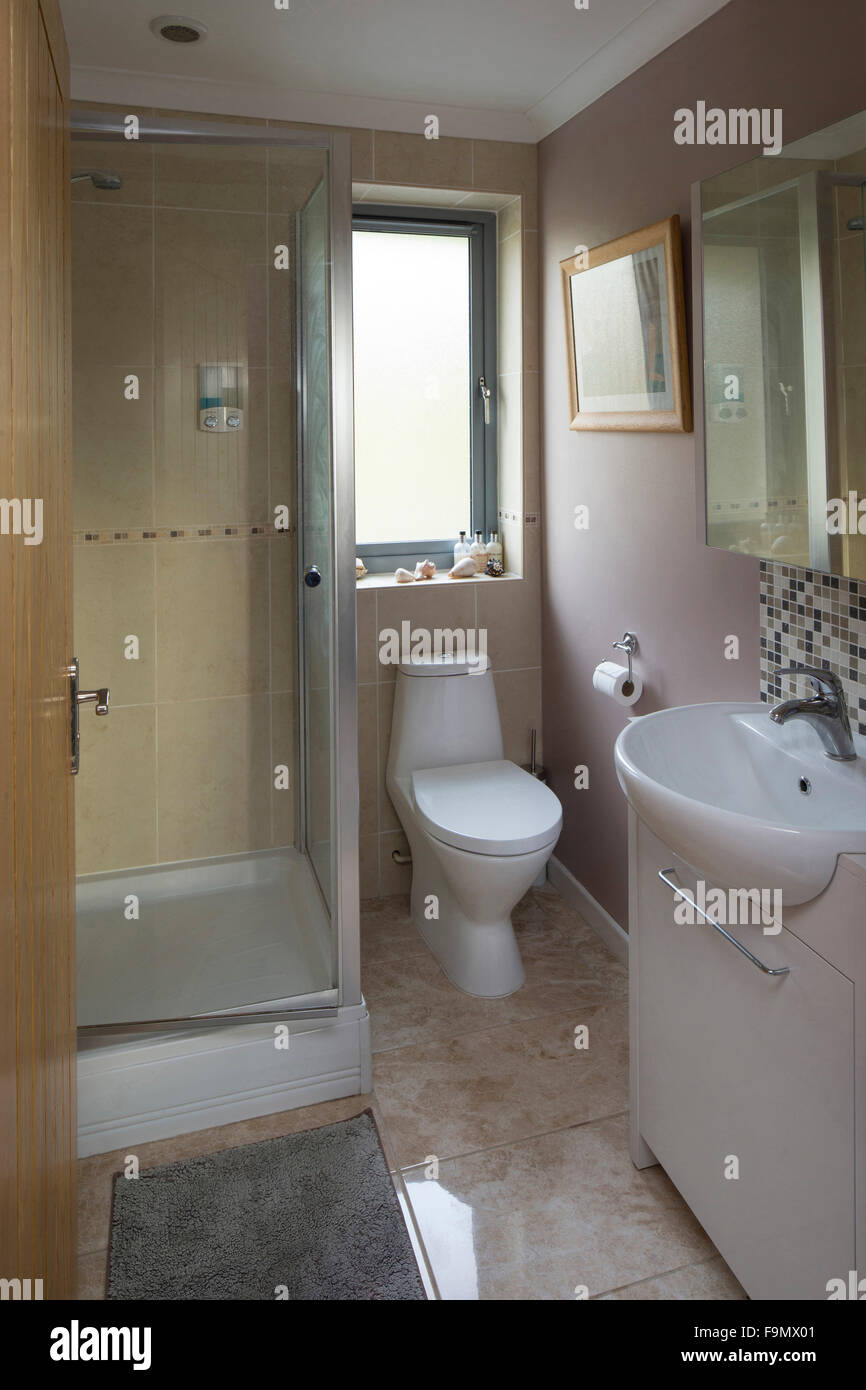 En Suite Bathroom In A Moden Family Home. A Shower Cubicle Toilet And Basin.