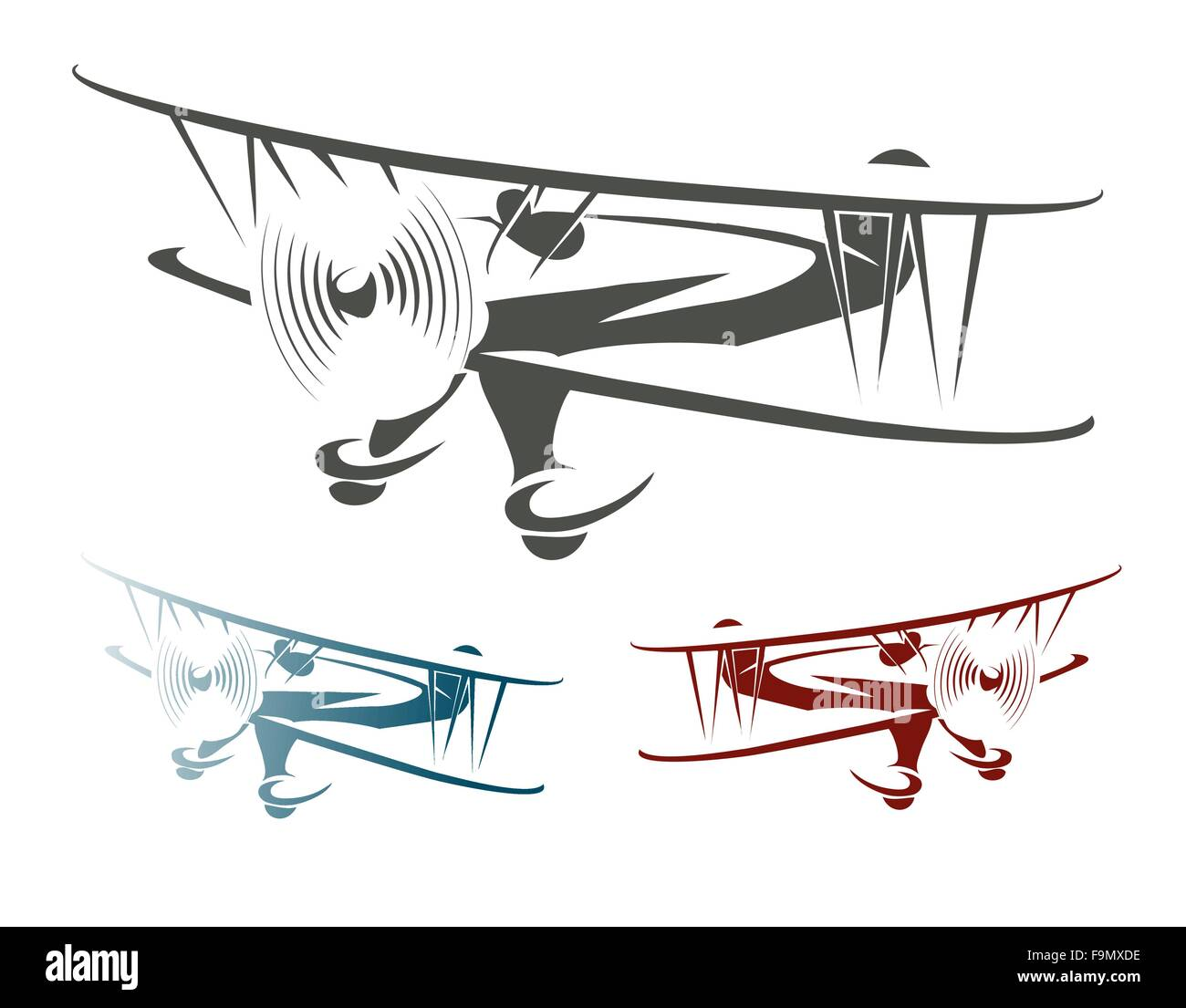 Flying Retro Airplane Emblem Set. Biplane in three color variations. Isolated on white. Stock Vector