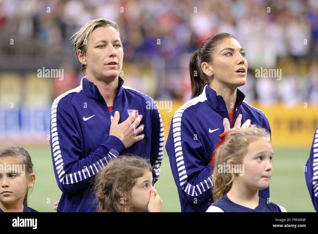 New Orleans Louisiana, USA. 16th Dec, 2015. United States of America forward Abby Wambach (20) and United States - Stock Image