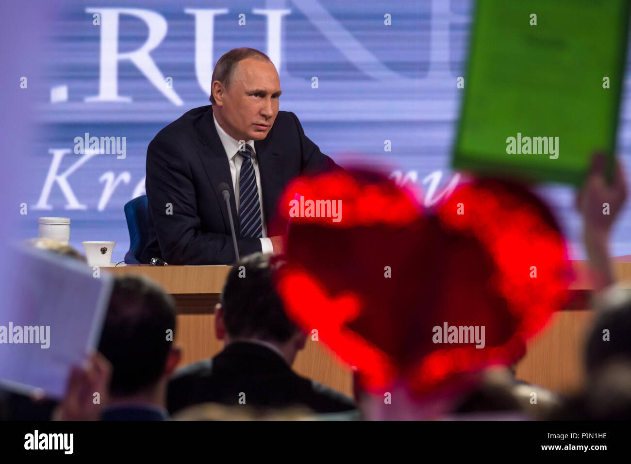 Moscow, Russia. 17th Dec, 2015. The President of the Russian Federation Vladimir Vladimirovich Putin an annual press Stock Photo