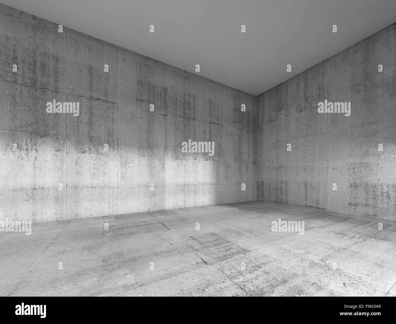 Abstract Interior Of An Empty Room With Rough Concrete Walls And White  Ceiling. 3d Render Illustration