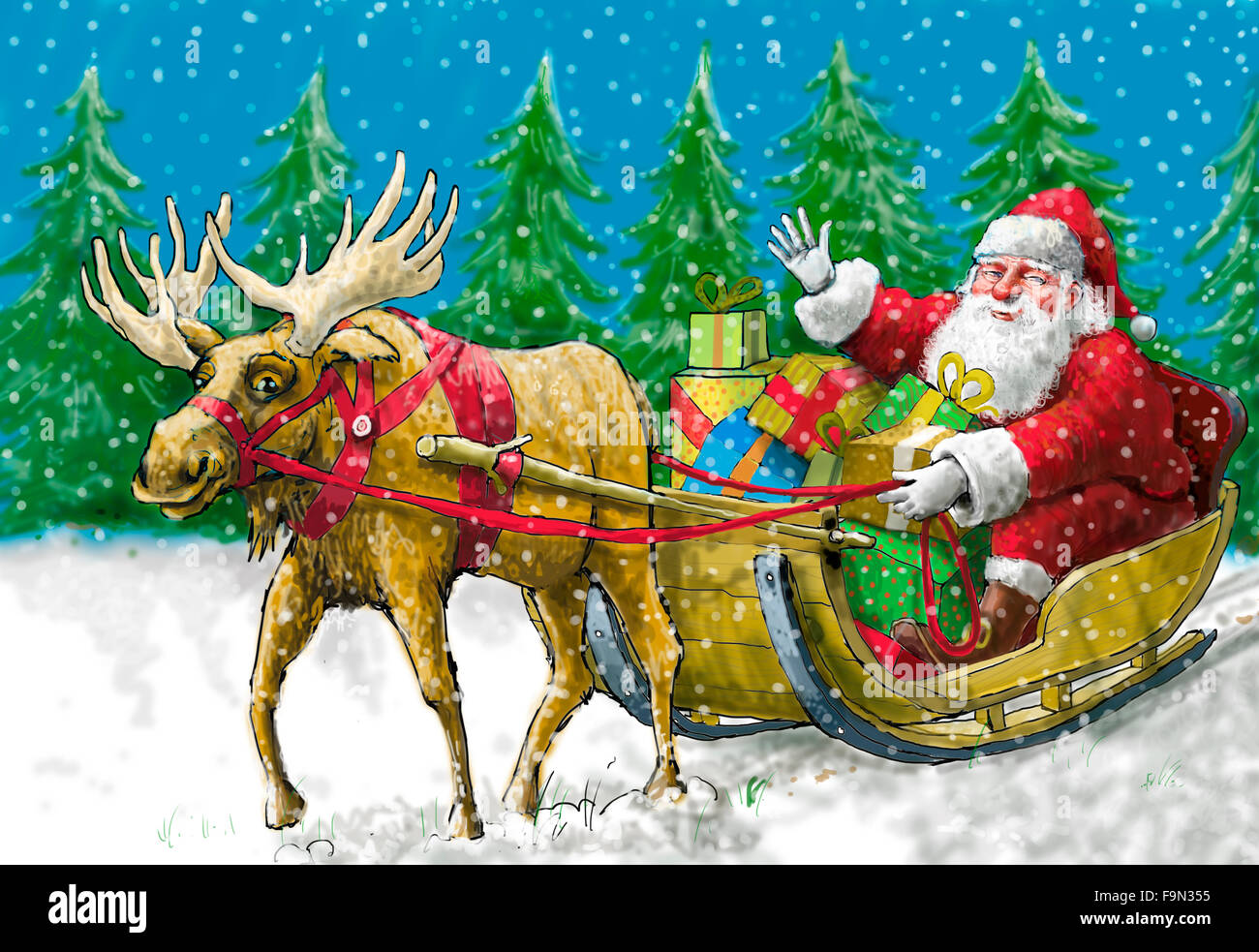Santa pulled by a reindeer - Stock Image