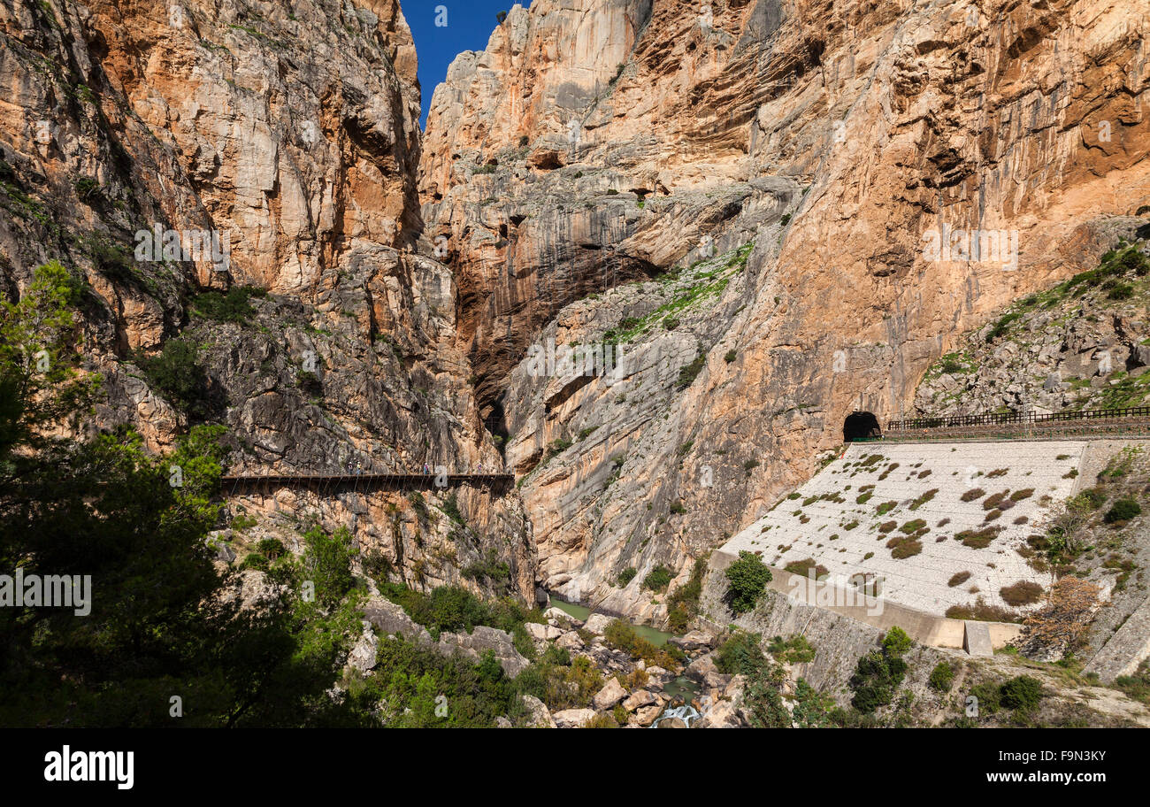El Caminito del Rey is a walkway, pinned to steep walls of a narrow gorge in El Chorro, near Málaga, Andalucia, - Stock Image