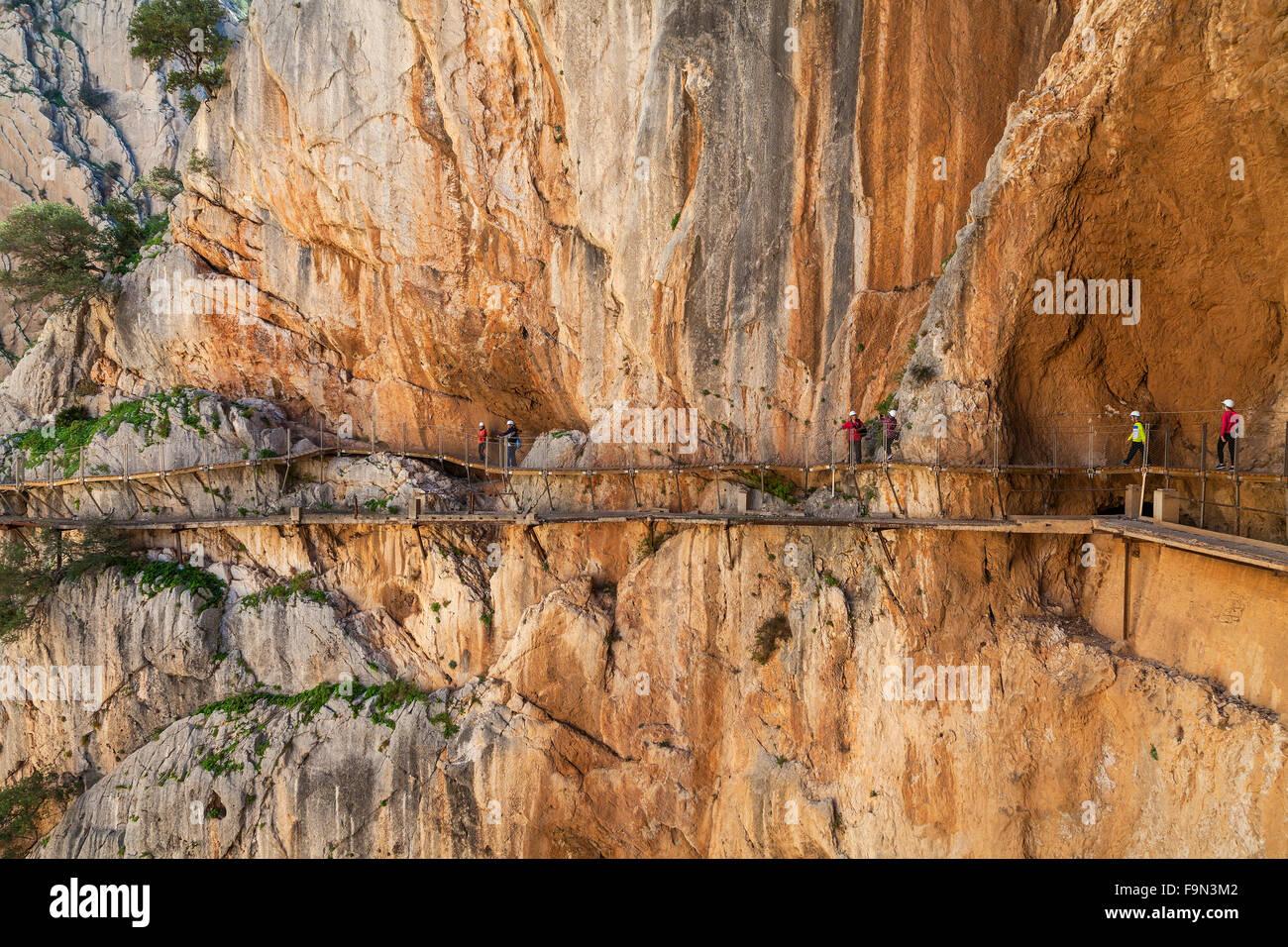 El Caminito del Rey is a walkway, pinned along the steep walls of a narrow gorge in El Chorro, Málaga Province, - Stock Image