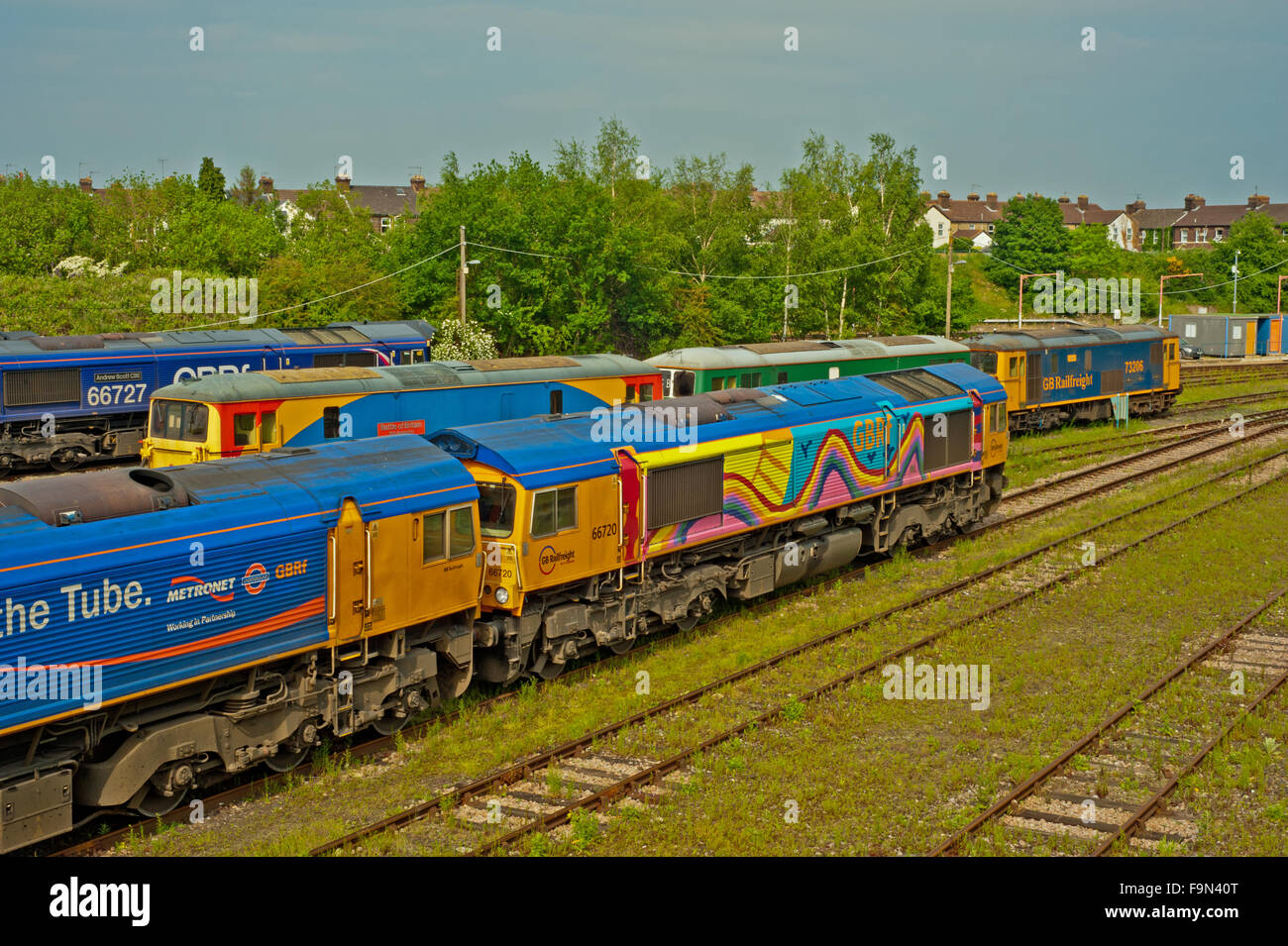 Engines at Tonbridge yard in Kent - Stock Image