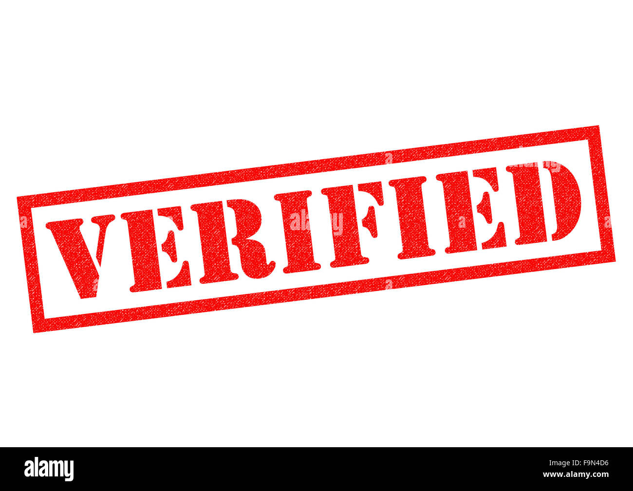 VERIFIED red Rubber Stamp over a white background. - Stock Image