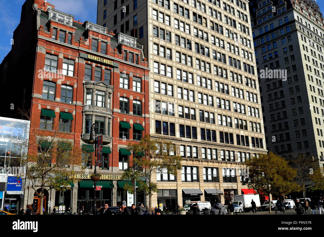 New York City:  Barnes & Noble book sellers and office buildings on the west side of Union Square * - Stock Image