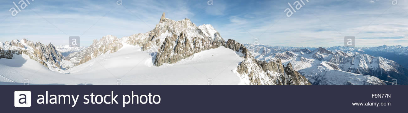 Dent du Geant panoramic photo from Skyway cablecar. - Stock Image