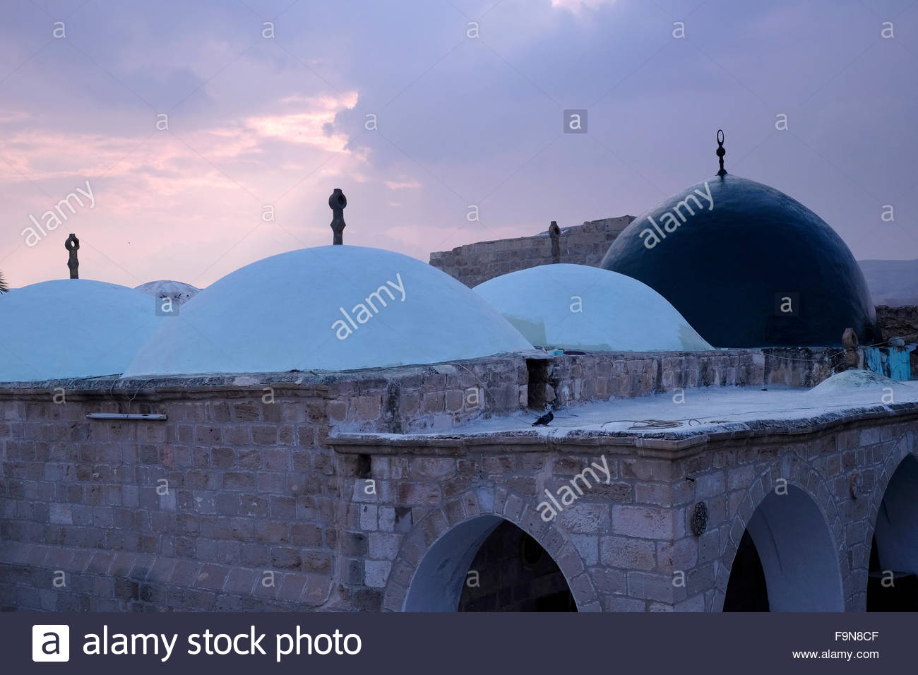 Rooftop of Nabi or Nebi Musa mosque which according to Moslem tradition was the burial place of Moses in Judean - Stock Image
