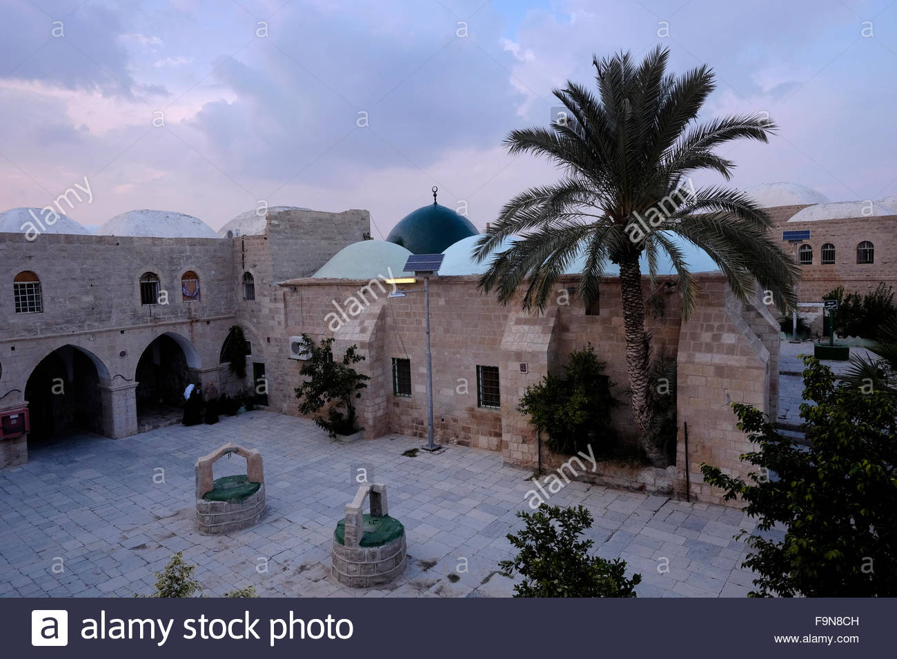 Courtyard of Nabi or Nebi Musa mosque which according to Moslem tradition was the burial place of Moses in Judaean - Stock Image