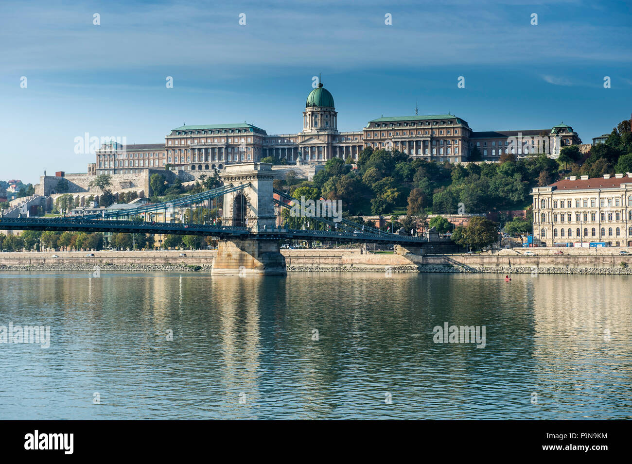 Panoramic view, Buda Castle and Széchenyi Lánchíd, Chain Bridge, Budapest, Hungary - Stock Image