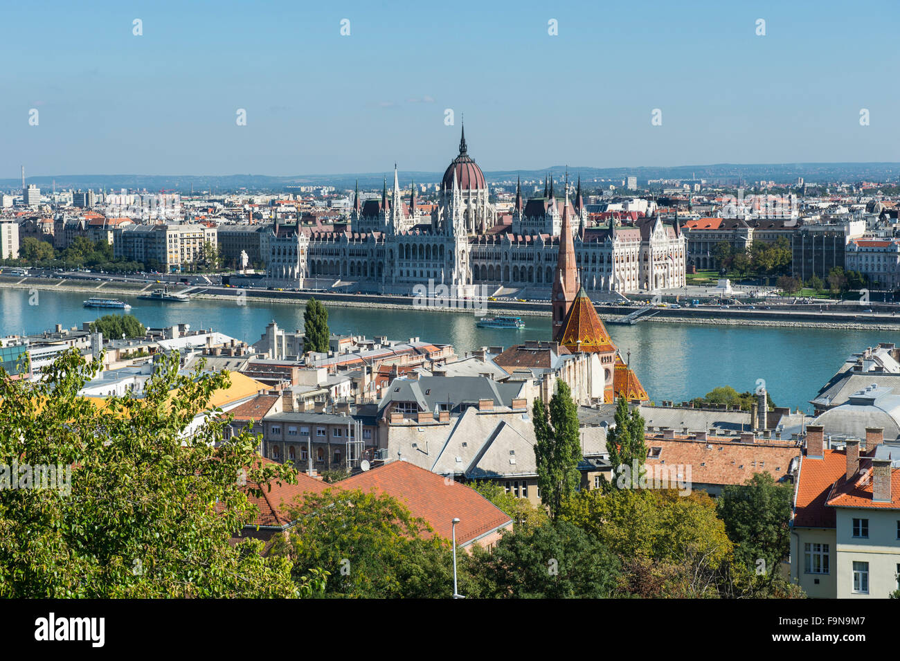 View of the Hungarian Parliament Building from Fisherman's Bastion, Budapest, Hungary - Stock Image