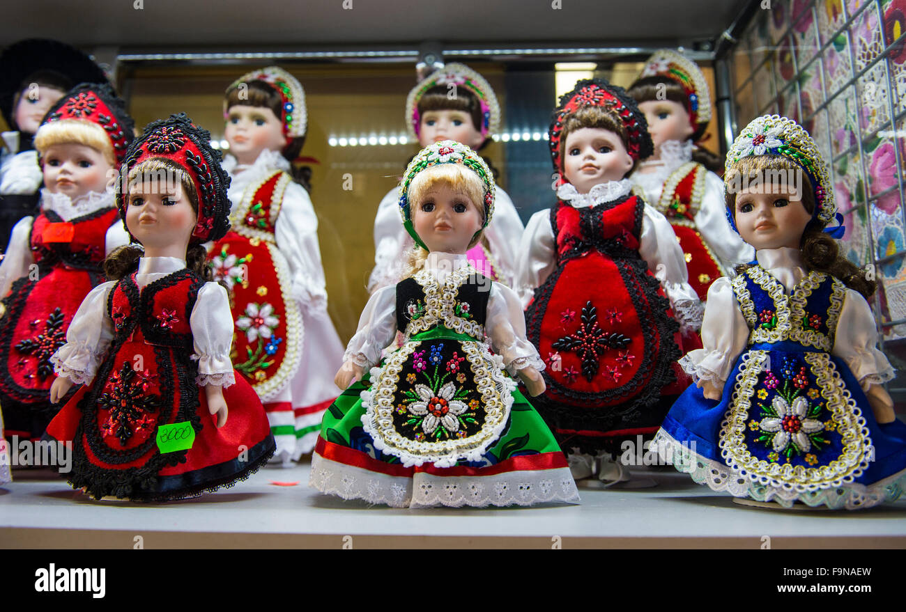 Hand made dolls for sale in Great Market Hall, Budapest, Hungary - Stock Image